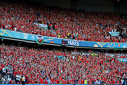 PARIS, FRANCE - Saturday, June 25, 2016: Wales' supporters celebrate the 1-0 victory over Northern Ireland during the Round of 16 UEFA Euro 2016 Championship match at the Parc des Princes. (Pic by David Rawcliffe/Propaganda)