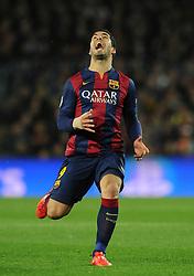 Barcelona's Luis Suarez cuts a frustrated figure - Photo mandatory by-line: Dougie Allward/JMP - Mobile: 07966 386802 - 18/03/2015 - SPORT - Football - Barcelona - Nou Camp - Barcelona v Manchester City - UEFA Champions League - Round 16 - Second Leg