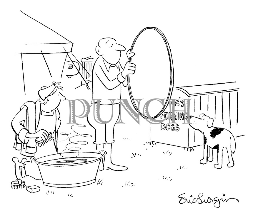(Circus trainer tries to get his dog to jump through a hoop into a bath)