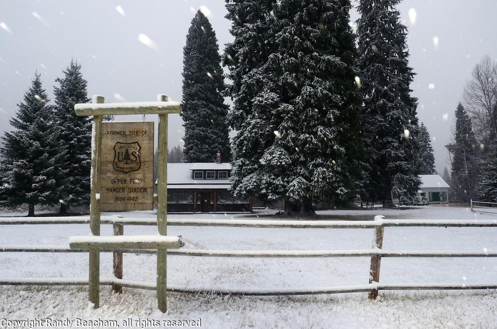 Historic Upper Ford Ranger Station during a snowstorm in fall 2017 shortly before the cutting of the Capitol Christmas tree that was selected from the ranger site. Upper Ford is a recreational rental cabin in the Yaak Valley. Kootenai National Forest in the Purcell Mountains, northwest Montana.