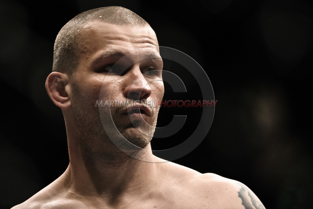 """LONDON, ENGLAND, JUNE 7, 2008: Jess Liaudin stands ready in his corner during """"UFC 85: Bedlam"""" inside the O2 Arena in Greenwich, London on June 7, 2008."""