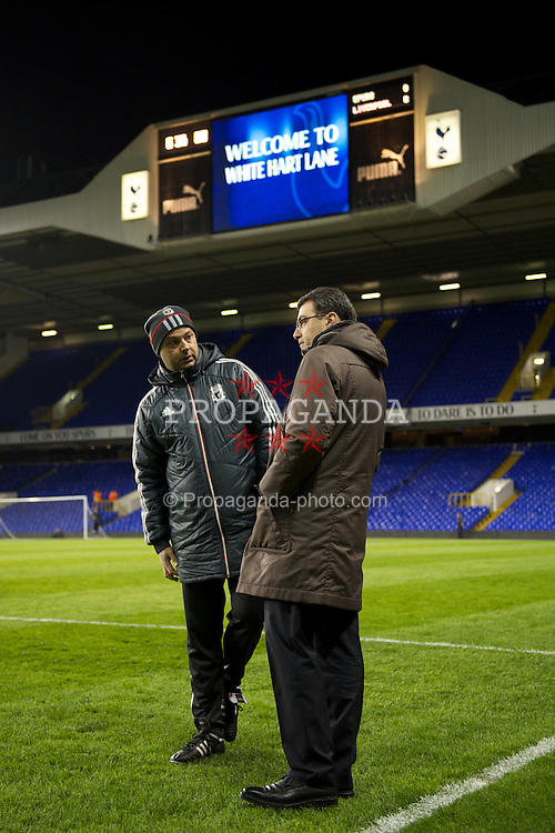 LONDON, ENGLAND - Wednesday, February 1, 2012: Liverpool's reserve team head coach Rodolfo Borrell and Director of Football Strategy Damien Comolli before the NextGen Series Quarter-Final match against Tottenham Hotspur at White Hart Lane. (Pic by David Rawcliffe/Propaganda)