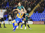 Shaun Whalley, Ashley Eastham during the Sky Bet League 1 match between Shrewsbury Town and Rochdale at Greenhous Meadow, Shrewsbury, England on 1 March 2016. Photo by Daniel Youngs.