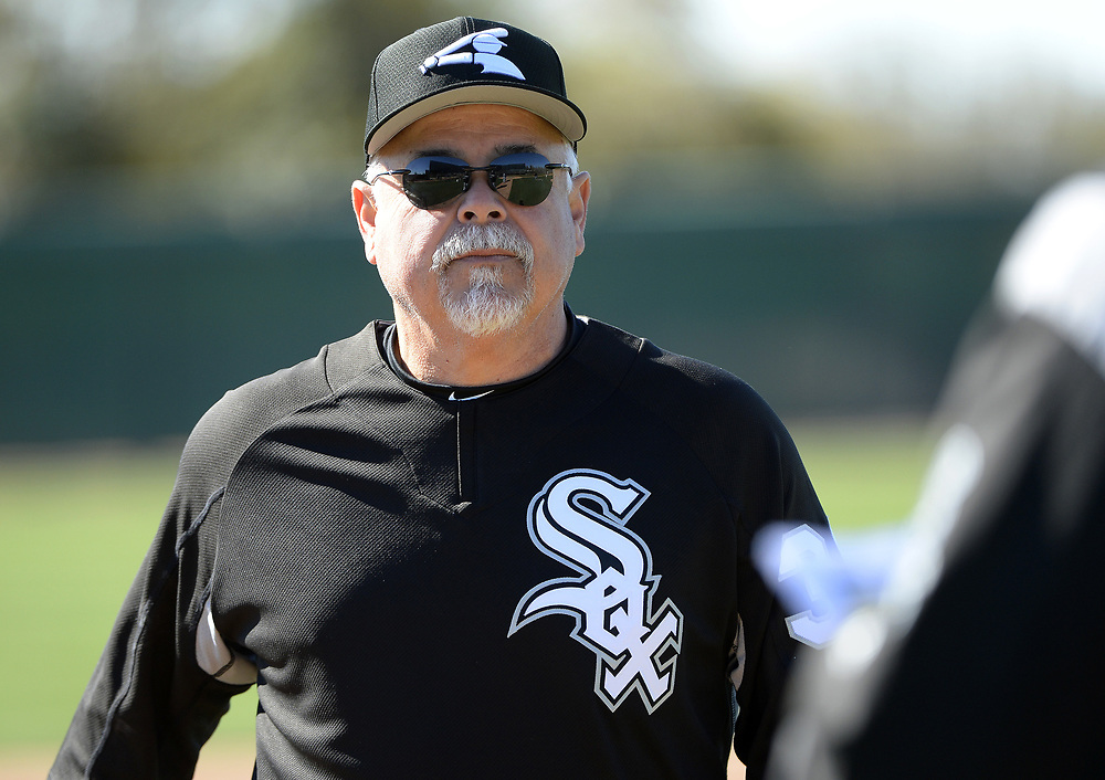 GLENDALE, ARIZONA - FEBRUARY 19: Manager Ricky Renteria #36 of the Chicago White Sox looks on during spring training workouts on February 19, 2019 at Camelback Ranch in Glendale Arizona.  (Photo by Ron Vesely). Subject:   Rick Renteria