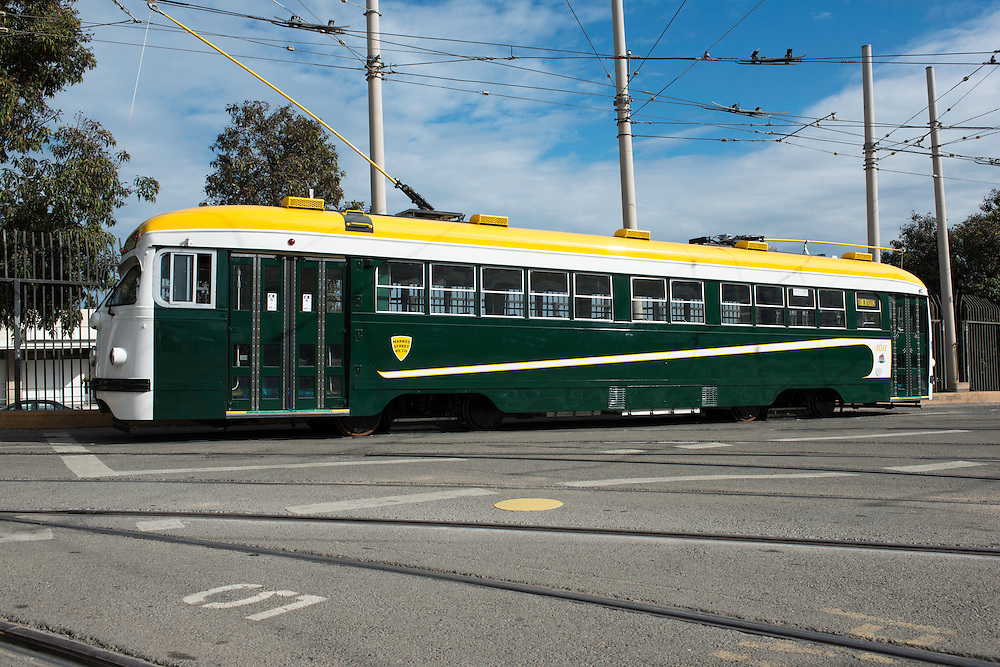 Market Street Railway Streetcar 1011, the newest restored streetcar to the SFMTA fleet. Painted in the colors of the Market Street Railway cars from 1921 to 1944 | November 12, 2013