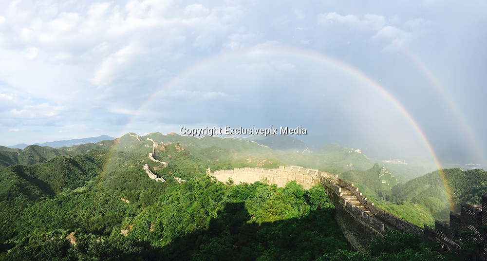 CHENGDE, CHINA - JUNE 15: (CHINA OUT) <br /> <br /> Double Rainbow appear above Jinshanling section of the Great Wall after the thunderstorm at Luanping County on June 15, 2016 in Chengde, Hebei Province of China.<br /> &copy;Exclusivepix Media