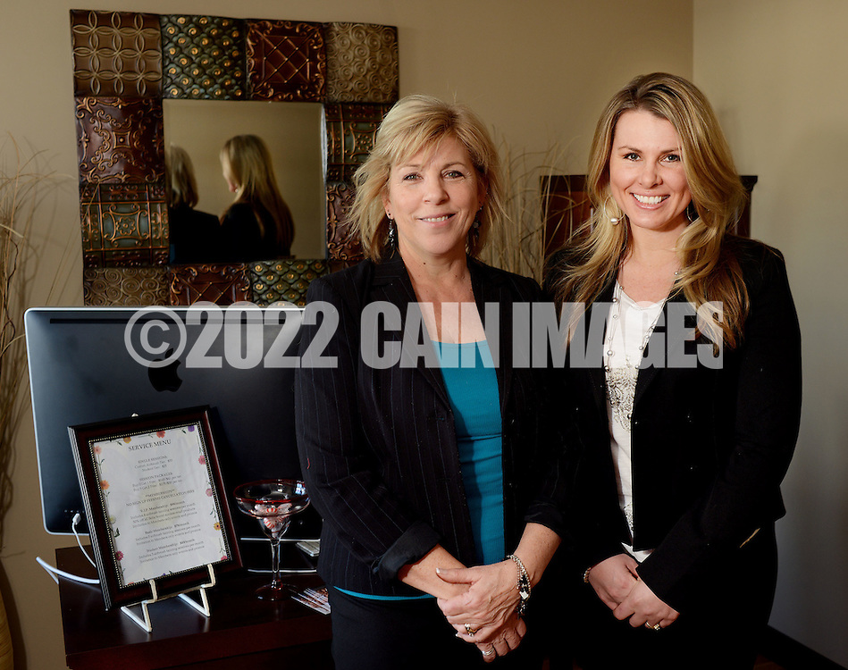 DOYLESTOWN, PA - FEBRUARY 13: From left, Dianne Schilling and Kristen Valentin started offering airbrush tanning services six years ago at Bella Sorrel February 13, 2015 in Doylestown, Pennsylvania.  They operate a salon with three airbrush tanning rooms and are looking to franchise their concept across the country.  (Photo by William Thomas Cain/Cain Images)