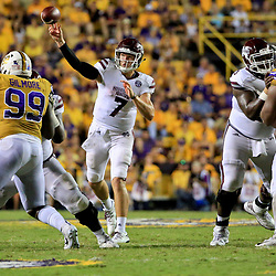 Sep 17, 2016; Baton Rouge, LA, USA;  Mississippi State Bulldogs quarterback Nick Fitzgerald (7) throws against the LSU Tigers during the second half of a game at Tiger Stadium. LSU defeated Mississippi State 23-20. Mandatory Credit: Derick E. Hingle-USA TODAY Sports