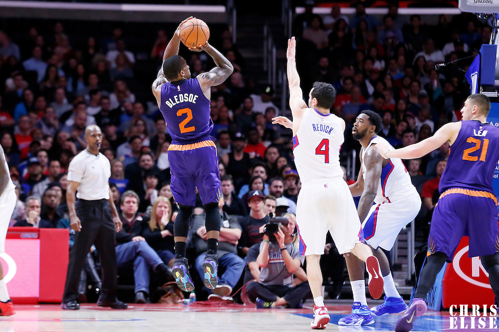 08 December 2014: Phoenix Suns guard Eric Bledsoe (2) takes a jump shot during the Los Angeles Clippers 121-120 overtime victory over the Phoenix Suns, at the Staples Center, Los Angeles, California, USA.
