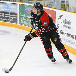 """TRENTON, ON  - MAY 5,  2017: Canadian Junior Hockey League, Central Canadian Jr. """"A"""" Championship. The Dudley Hewitt Cup Game 7 between Georgetown Raiders and the Powassan Voodoos.   Austin Cho #20 of the Georgetown Raiders skates with the puck during the first period<br /> (Photo by Alex D'Addese / OJHL Images)"""