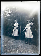young girls palying a diabolo game  France ca 1920s