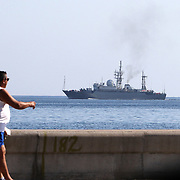 The Viktor Leonov CCB-175, a Russian Navy intelligence warship off Havana's famous Malecon seaside drive as it leaves Havana, Cuba.<br /> Photography by Jose More