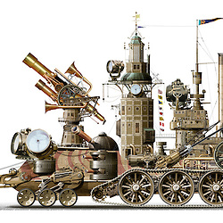Highly detailed Visual pun illustration of a 'search engine' created in the Steampunk genre inspired by Victorian technology and aesthetic design. Created utilising conventional and digital illustrative techniques with photo composite elements