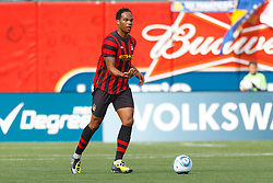 July 16, 2011; San Francisco, CA, USA;  Manchester City defender Joleon Lescott (19) dribbles the ball against Club America during the first half at AT&T Park. Manchester City defeated Club America 2-0.