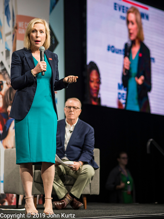 10 AUGUST 2019 - DES MOINES, IOWA: Senator KIRSTEN GILLIBRAND, (D-NY), a Democratic Presidential candidate, answers questions from gun violence survivors at the Presidential Gun Sense Forum. Several thousand people from as far away as Milwaukee, WI, and Chicago, came to Des Moines Saturday for the Presidential Gun Sense Forum. Most of the Democratic candidates for president attended the event, which was organized by Moms Demand Action, Every Town for Gun Safety, and Students Demand Action.               PHOTO BY JACK KURTZ