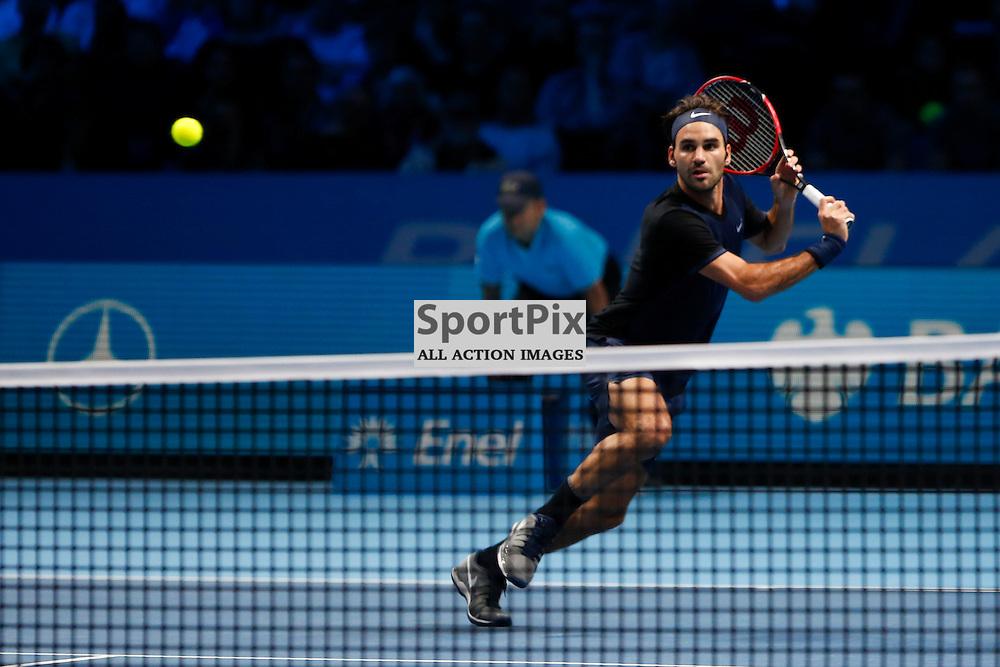 Roger Federer in action during the ATP World Tour Final match between Novak Djokovic and Roger Federer at the O2 Arena, London 2015.  on November 22, 2015 in London, England. (Credit: SAM TODD | SportPix.org.uk)