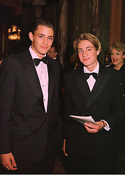 Left to right, MR OLIVER RIPLEY and MR BEN GOLDSMITH son of the late Sir James Goldsmith, at a reception in London on 14th May 1998.MHM 77