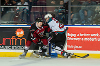 KELOWNA, BC - JANUARY 26: Bowen Byram #44 of the Vancouver Giants checks Leif Mattson #28 of the Kelowna Rockets in to the boards at Prospera Place on January 26, 2019 in Kelowna, Canada. (Photo by Marissa Baecker/Getty Images)