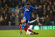 Cardiff City midfielder Nathaniel Mendez-Laing (19) is fouled by Aston Villa midfielder Conor Hourihane (14) during the EFL Sky Bet Championship match between Aston Villa and Cardiff City at Villa Park, Birmingham, England on 10 April 2018. Picture by Dennis Goodwin.