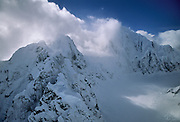 Alaska Range, Aerial Photo, Winter, Glacier, Crevasse, Ice, Snow, Mount McKinley, Denali National Park, Alaska