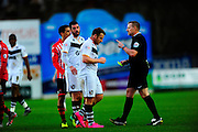 Port Vale's Chris Birchall is yellow carded during the The FA Cup match between Exeter City and Port Vale at St James' Park, Exeter, England on 6 December 2015. Photo by Graham Hunt.