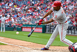 May 6, 2018 - Washington, DC, U.S. - WASHINGTON, DC - MAY 06:  Philadelphia Phillies right fielder Nick Williams (5) gets a base hit during the game between the Philadelphia Phillies  and the Washington Nationals on May 6, 2018, at Nationals Park, in Washington D.C.  The Washington Nationals defeated the Philadelphia Phillies, 5-4.  (Photo by Mark Goldman/Icon Sportswire) (Credit Image: © Mark Goldman/Icon SMI via ZUMA Press)