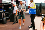 Leeds United defender Stuart Dallas (15) arriving during the EFL Sky Bet Championship match between Stoke City and Leeds United at the Bet365 Stadium, Stoke-on-Trent, England on 24 August 2019.