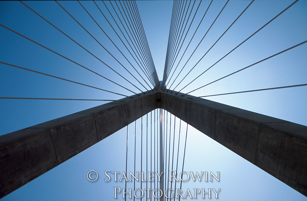 Boston; Zakim Bunker Hill Bridge; from below