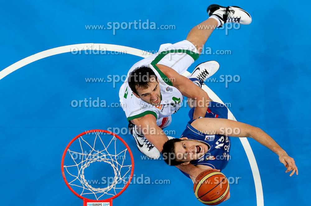 Mirza Begic of Slovenia vs Kosta Perovic of Serbia during basketball game between National basketball teams of Slovenia and Serbia in 7th place game of FIBA Europe Eurobasket Lithuania 2011, on September 17, 2011, in Arena Zalgirio, Kaunas, Lithuania. Slovenia defeated Serbia 72 - 68 and placed 7th. (Photo by Vid Ponikvar / Sportida)