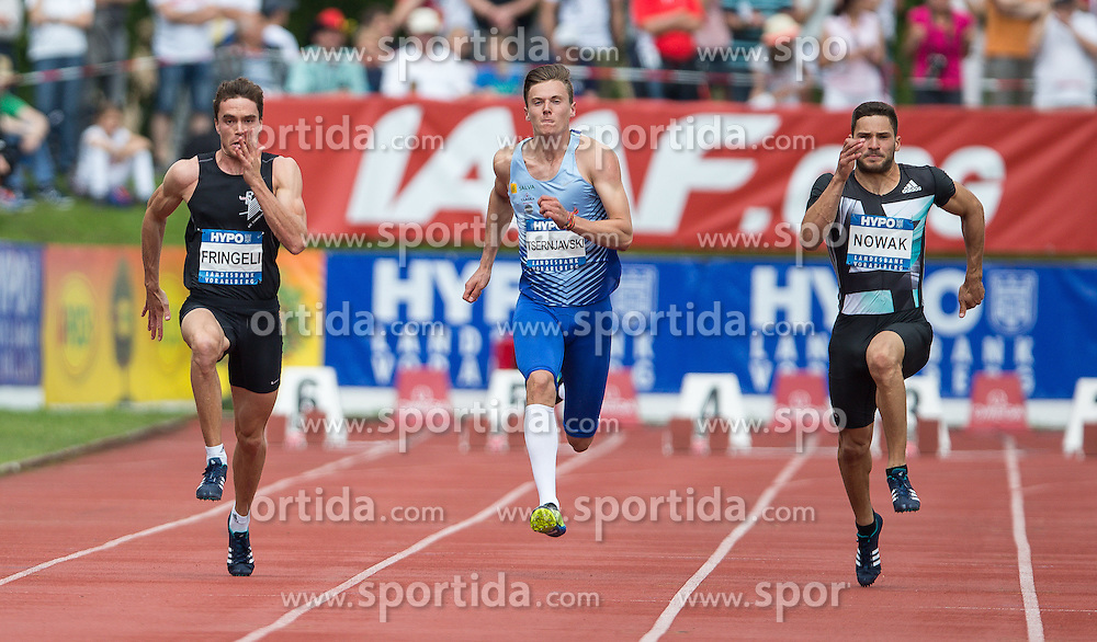 28.05.2016, Moeslestadion, Goetzis, AUT, 42. Hypo Meeting Goetzis 2016, Zehnkampf der Herren, 400 Meter, im Bild v. l. Jonas Fringeli (SUI), Taavi Ternjavski (EST) und Tim Nowak (GER) // Jonas Fringeli of Switzerland ( L ) Taavi Ternjavski of Estland ( C ) Tim Nowak of Germany ( R ) during the 400 metres event of the Decathlon competition at the 42th Hypo Meeting at the Moeslestadion in Goetzis, Austria on 2016/05/28. EXPA Pictures © 2016, PhotoCredit: EXPA/ Peter Rinderer