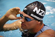 Moss Burmester after swimming in the Men's 200m Butterfly semi final at the at the New Zealand Swimming World Championship Trials at the West Aquatic Centre, Auckland, New Zealand, on Tuesday 12 December 2006. Photo: Hannah Johnston/PHOTOSPORT<br /> <br /> <br /> 121206