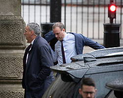© Licensed to London News Pictures. 17/12/2019. London, UK. Dominic Raab Secretary of State for Foreign Affairs arrives at Downing Street for the first Cabinet meeting with Prime Minister Boris Johnson after winning the General Election. Photo credit: Alex Lentati/LNP