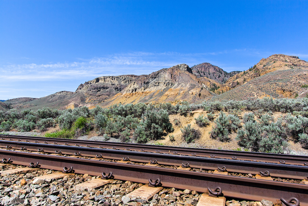 Canadian National Raiway tracks run along the edge of Lac Du Bois Provincial Park in Kamloops, British Columbia, Canada