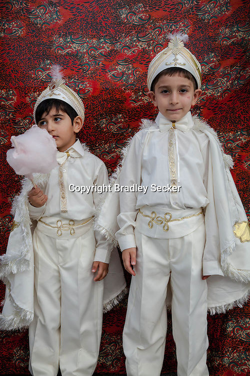 Yahya Kemal Ünal, left, and his elder brother Yusuf Ünal after their circumcision in Sariyer, a town on the Bosphorus coastline north of Istanbul.