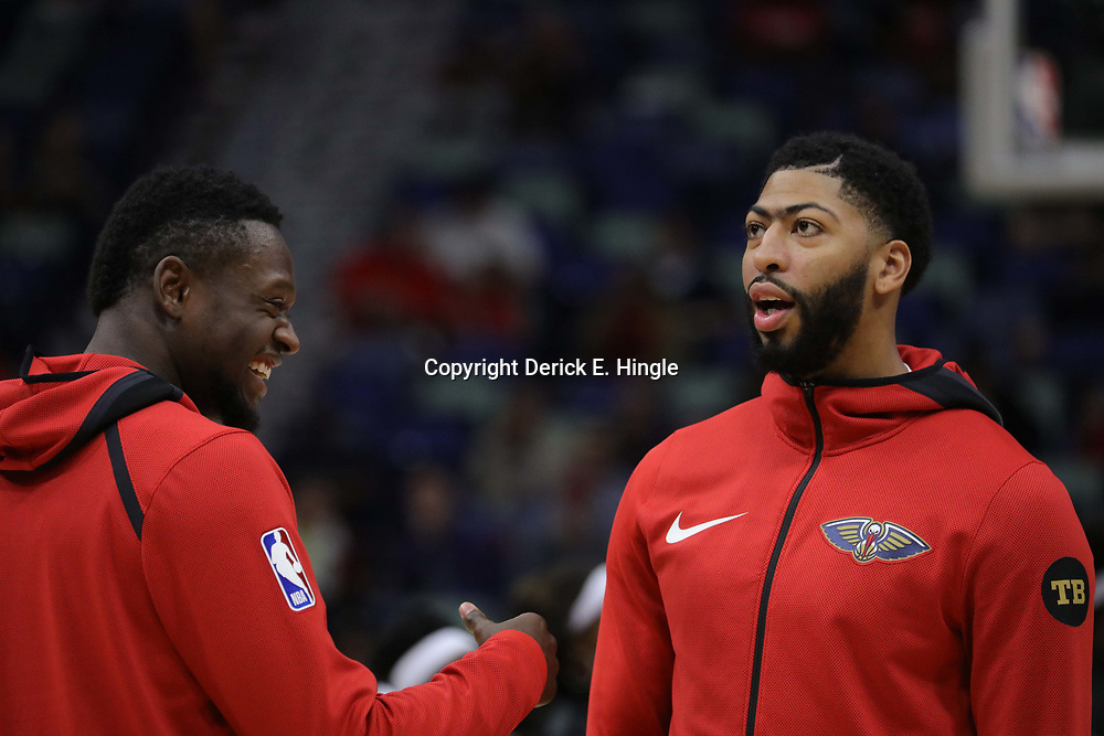 Oct 23, 2018; New Orleans, LA, USA; New Orleans Pelicans forward Julius Randle (left) and forward Anthony Davis (right) during warm ups before a game against the Los Angeles Clippers at the Smoothie King Center. Mandatory Credit: Derick E. Hingle-USA TODAY Sports