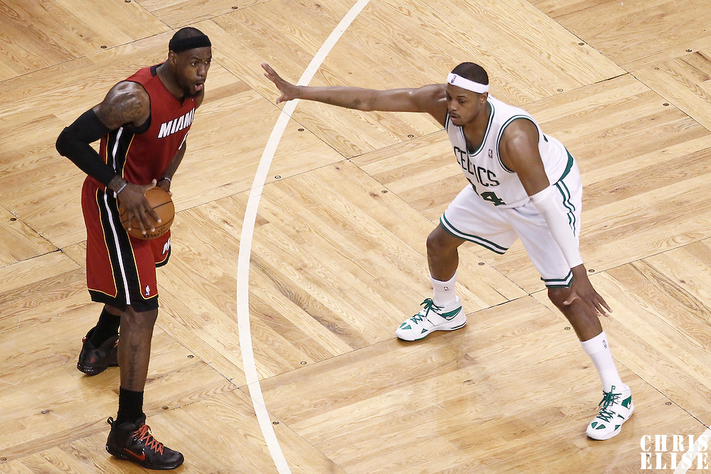 07 June 2012: Miami Heat small forward LeBron James (6) looks to pass the ball as Boston Celtics small forward Paul Pierce (34) defends on him during first half of Game 6 of the Eastern Conference Finals playoff series, Heat at Celtics at the TD Banknorth Garden, Boston, Massachusetts, USA.