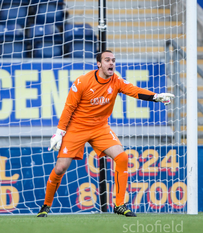 Falkirk's keeper Jamie MacDonald.<br /> Falkirk 6 v 0 Cowdenbeath, Scottish Championship game played at The Falkirk Stadium, 25/10/2014.