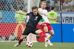 July 1, 2018 - Nizhny Novgorod, Russia - Luka Modric of Croatia vies Michael Krohn-Dehli of Denmark during the 2018 FIFA World Cup Russia Round of 16 match between Croatia and Denmark at Nizhny Novgorod Stadium on July 1, 2018 in Nizhny Novgorod, Russia. (Credit Image: © Foto Olimpik/NurPhoto via ZUMA Press)