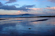 blue sunset over rangitoto island, auckland, new zealand