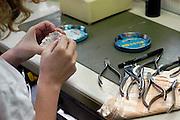 Nederland, Nijmegen, 9-5-2003..Medewerkster van een tandtechnisch laboratorium bezig met een kaakmodel. Tandtechniek, gebit, kroon, brug, tandverzorging, tanden poetsen, tandheelkunde, orthodontie..Foto: Flip Franssen