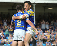 Tom Briscoe of Leeds Rhinos celebrates scoring the try with team mate Nathaniel Peteru (R) against Hull Kingston Rovers during the Super 8s the Qualifiers match at Emerald Headingley  Stadium, Leeds<br /> Picture by Stephen Gaunt/Focus Images Ltd +447904 833202<br /> 01/09/2018