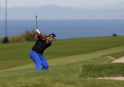 January 26, 2019 - San Diego, CA, USA - Hideki Matsuyama hits on the 4th hole during the third round of the Farmers Insurance Open at the Torrey Pines Golf Course in San Diego on Saturday, Jan. 26, 2019. (Credit Image: © K.C. Alfred/San Diego Union-Tribune/TNS via ZUMA Wire)