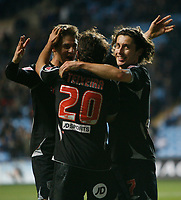 Photo: Steve Bond/Sportsbeat Images.<br />Coventry City v West Bromwich Albion. Coca Cola Championship. 12/11/2007. Robert Koren (R) thanks No20 Filipe Teixeira for laying on his goal