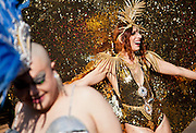 "Dutch performance artist, Merante Tamar van Amersfoort, who performs under the name, ""Merante in Wonderland"" wearing a gold costume called the Sun Goddess for Diversity at Tokyo Rainbow Pride festival, Yoyogi Park, Tokyo, Japan. Sunday April 27th 2014 This was the third year this annual gay-pride event has been held in Japan capital.with food, fashion and health care stalls and musical performances set up in Yoyogi Park event square and a colourful parade around Shibuya at 1pm."