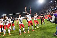 Joie PSG Champion - David LUIZ / Lucas MOURA / Edinson CAVANI / Blaise MATUIDI - 16.05.2015 - Montpellier / Paris Saint Germain - 37eme journee de Ligue 1<br />Photo : Alexandre Dimou / Icon Sport