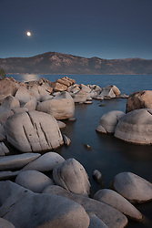 """Full Moon Over Lake Tahoe 14"" -These boulders, full moon, and alpenglow sunset were photographed at Crystal Point in Crystal Bay, Lake Tahoe."