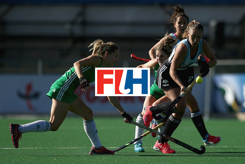 JOHANNESBURG, SOUTH AFRICA - JULY 18: Florencia Habif of Argentina is is tackled by Nicola Daly of Ireland during the Quarter Final match between Argentina and Ireland during the FIH Hockey World League - Women's Semi Finals on July 18, 2017 in Johannesburg, South Africa.  (Photo by Jan Kruger/Getty Images for FIH)