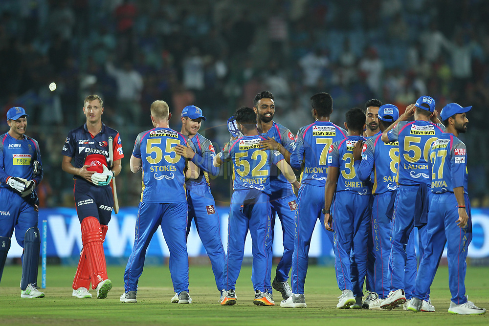 Rajasthan Royals win during match six of the Vivo Indian Premier League 2018 (IPL 2018) between the Rajasthan Royals and the Delhi Daredevils held at the The Sawai Mansingh Stadium in Jaipur on the 11th April 2018.<br /> <br /> Photo by: Deepak Malik / IPL/ SPORTZPICS