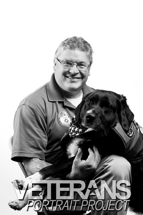 Matthew Mihelcic<br /> Service Dog: Mama Cass<br /> Air Force<br /> E-5<br /> Security Police<br /> 1989 - 1999<br /> Desert Storm<br /> <br /> Veterans Portrait Project<br /> St. Louis, MO