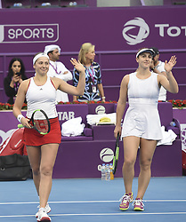 DOHA, Feb. 19, 2018  Gabriela Dabrowski (R) of Canada and Jelena Ostapenko of Latvia celebrate after winning the double's final match against Andreja Klepac of Slovenia and Maria Jose Martinez Sanchez of Spain at the 2018 WTA Qatar Open in Doha, Qatar, on Feb. 18, 2018. Gabriela Dabrowski and Jelena Ostapenko won 2-0 to claim the title. (Credit Image: © Nikku/Xinhua via ZUMA Wire)